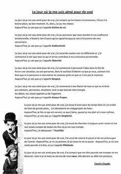 Le-jour-ou-je-me-suis-aime-pour-de-vrai. Charlie Chaplin, Positive Mind, Positive Attitude, Positive Quotes, Words Quotes, Me Quotes, Sayings, The Jacksons, French Quotes