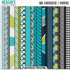 Mr. Fantastic | digital scrapbooking papers. Mr Fantastic patterned papers pack - set of twenty 12 x 12 patterned and solid papers in bright colors and fun patterns that coordinate with the Mr and Mrs digital scrapbooking collection by Meagan's Creations.