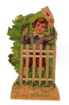 Vintage 1920s Die Cut Valentine Card Boy at Fence Germany Embossed Greeting