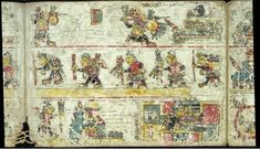 An image from the 12 th century Codex Colombino of the Mixtec people shows the 11th-century military and political feats of Lord Eight-Deer, aka Tiger Claw, and another ruler, Four-Wind, and religious ceremonies marking these feats