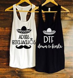 Adios bitchachos and dtf down to fiesta bachelorette party tanks / fiesta bachelorette party / bachelorette party favors / fast shipping