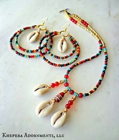 MultiColor Tribal Hoop Earrings and Necklace set, Colorful Jewelry Set, Cowrie Shell Jewelry, Beaded Bohemian Jewelry