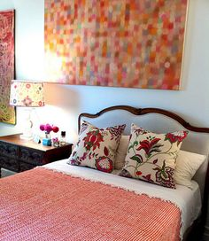 Interesting bedside table + Colorful cushions