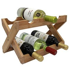 Wine Racks - Autree Natural Bamboo Foldable Countertop Wine Rack No Assembly Required >>> Check this awesome product by going to the link at the image. Bamboo Countertop, Countertop Wine Rack, Countertops, Bottle Rack, Wine Bottle Holders, Wood Bar Cabinet, Wine Rack Design, Palette Deco, Rustic Wine Racks