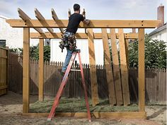 Pergolas can be the perfect backyard oasis, but they're also fun to build. They're a perfect blend of big honkin' timbers, some pretty neat carpentry and a little landscaping thrown in for good mea...