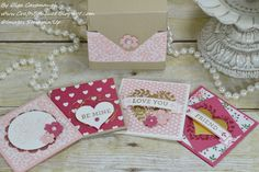 Set of 3 x 3 Note Cards made with the Stampin' Up Love Blossoms Collection
