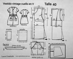 Patrón talla 40 Vestidos Vintage, Retro Pattern, Vintage Sewing Patterns, Nail Patterns, Dress Patterns