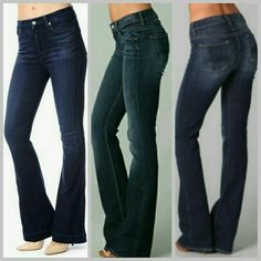 High Waist 7 for all mankind Jeans Euc worn a couple times. HOT current style!!High Waist quality jeans. Has a little stretch for that perfect snug look:) inseam is 30 1/2. 7 for all Mankind Jeans Boot Cut
