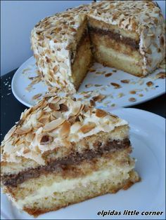 Elpida's Little Corner! Greek Sweets, Greek Desserts, Party Desserts, Greek Recipes, Sweets Cake, Cupcake Cakes, Greek Cake, Greek Pastries, Cake Recipes