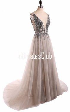 Gray V-Neck A-Line Floor-Length Sweep Train Sleeveless Beading Lace-Up Long Prom Dresses
