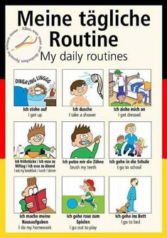 New edited 2016 edition German poster teaching aid / classroom resources – My daily routines / Meine tägliche Routine (Supplied folded to NOT laminated) – tedesco – Putzen Study German, German English, Learn German, Learn French, German Grammar, German Words, German Language Learning, Language Study, English Language