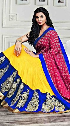 Modelled by Daisy Shah, this this faux georgette lehenga choli in stylish yellow color with contrast dupatta which is completed with embroidery work. It has heavy work of zari, stone, embroidery and lace completed on the skirt part which is increasing its nice looks. This Unstitched choli can be stitched in the maximum bust size of 42 inches.