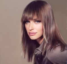 Mediun hair style with long bangs, brown with ice blonde highlighted