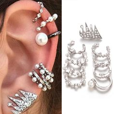 boho punk - Google Search Clip On Pearl Earrings, Cuff Earrings, Cartilage Earrings, Simple Earrings, Crystal Earrings, Ear Piercing, Girls Earrings, Rhinestone Earrings, Pearl Beads