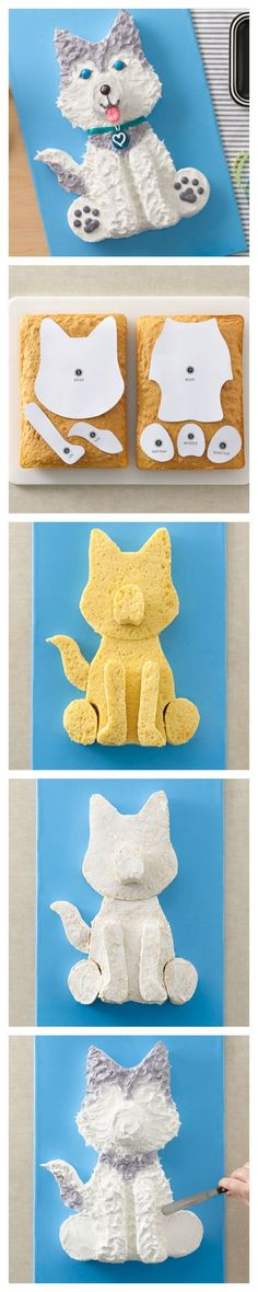 Husky Dog Cake and Template, perfect for make a sweet treat in honor of your pooch!