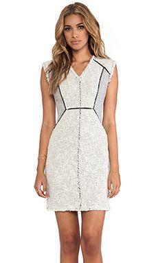 Rebecca Taylor Zip Tweed Combo Dress in Pece | REVOLVE