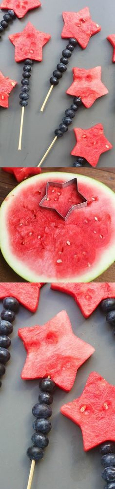 Fruit Sparklers made with watermelon stars and blueberries Tastes Better From Scratch July desserts, recipes Cute Food, Good Food, Yummy Food, Awesome Food, Summer Recipes, Holiday Recipes, Holiday Foods, Christmas Recipes, Healthy Snacks