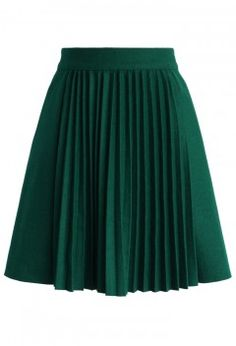 Accordion Pleats Wool Blend Skirt in Emerald