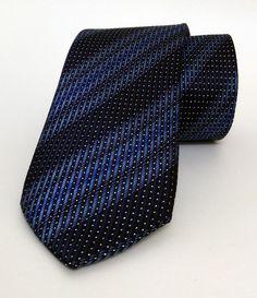 Blue Striped Mens Tie 7 cm (2,76 #handmadeatamazon #nazodesign