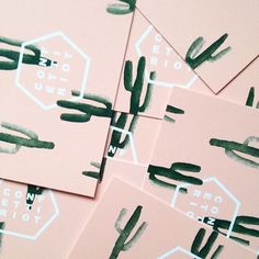 Super cute business cards with watercolor cactus! Love the colors too.