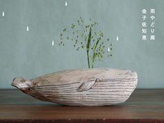 ceramic animal planters by Japanese artist Kusafune
