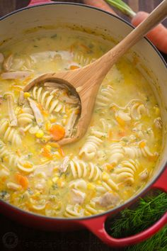 Creamy chicken noodle soup is loaded with shredded chicken, noodles, and veggies. Creamy chicken soup tastes like a chicken pot pie. Easy and loved by all! (creamy chicken and rice cassarole) Chicken Soup Recipes, Chicken Soups, Chicken Thighs Soup, Leftover Chicken Soup, Roast Chicken Soup, Rotisserie Chicken Soup, Beef Soups, Chicken Rice Soup, Chicken Ideas