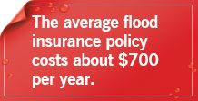 The average flood insurance policy costs about $700 per year.