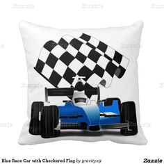 Blue #RaceCar with Checkered Flag Throw Pillows by #gravityx9  #zazzle -