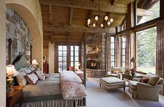Country bedroom designs endearing french country master bedroom ideas rustic master retreat with fireplace and a lot of windows modern country bedroom Country Master Bedroom, Cozy Bedroom, Bedroom Ideas, Bedroom Rustic, Bedroom Designs, Bedroom Decor, Country Bedrooms, Bedroom Photos, Bedroom Inspiration