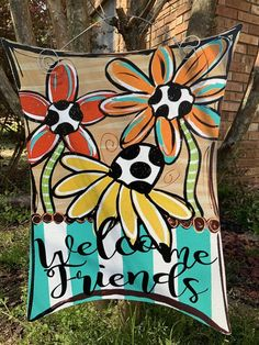Excellent Images Welcome Friends Flower Trio Summer Sign Door Hanger Suggestions Your individual door hanger Sure, the classic is obviously the door pendant, in which on the leading Letter Door Hangers, Initial Door Hanger, Cross Door Hangers, Wooden Door Hangers, Wooden Doors, Painted Signs, Hand Painted, Painted Wood, Burlap Door Hangings