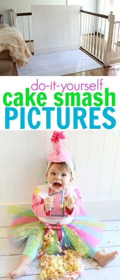 Take Your Own Professional-Looking Cake Smash Pictures at Your Baby's Birthday Party Take your own professional looking cake-smash photos at your baby's birthday party! Smash Cake Girl, Birthday Cake Smash, Diy Cake Smash, Smash Cakes, 1st Birthday Photos, Baby 1st Birthday, Birthday Ideas, Birthday Parties, Easter Pictures