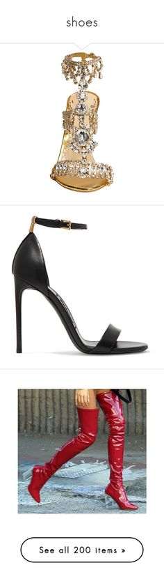 """shoes"" by morgandrendell ❤ liked on Polyvore featuring shoes, sandals, heels, embellished leather sandals, leather heeled sandals, polish shoes, embellished heeled sandals, gold sandals, high heels and sapatos"