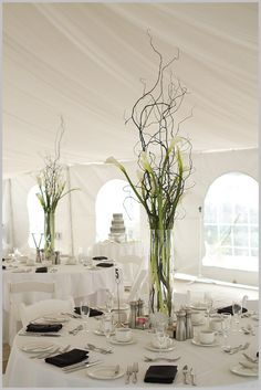 BloomingFlowers with branches centerpiece. But not with calla lillies Calla Lillies Centerpieces, Branch Centerpieces, Wedding Centerpieces, Wedding Table, Our Wedding, Wedding Cakes, Wedding Ideas, Sweet Table Decorations, Reception Decorations
