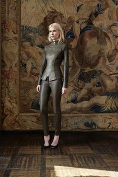 arletty new jacket . python and stretch lambskin lean trousers . stretch lambskin model : yulia terenti