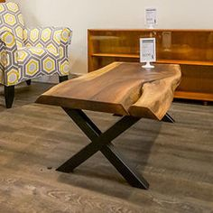 Large Walnut Live Edge Coffee Table with Cracking | Vintage Home Boutique