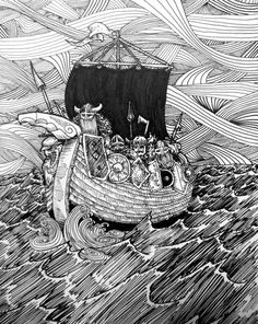 "Viking Ship was another quick illustration. Saw an illustration of a viking ship and wanted to do my own.    Size: 9x6""  Type: PRINT  -Unframed  - drawn with Sakura Pigma Micron Pens of various sizes (.005-.03) Black ink.  -I also do commissioned work upon request.  -You can find me on Facebook.com/wyldtrees or wyldtrees.com 