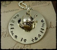 Hand Stamped Tea Teatime Necklace Sterling by rosecreekcottage, $42.00