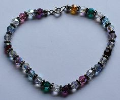 Sterling Silver and Crystal Glass Beaded Bracelet by onetime, $6.25
