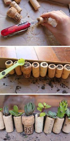 que faire avec des bouchons, petits pots de fleurs creusés avec couteau de poche