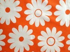 60s Orange and White Daisy Delight Fabric// Happy by KimberlyZ