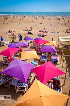 Beautiful colorful umbrellas by cvoske  Vendée 2015 Sable d'Olonne Vacance france sea summer sun cvoske