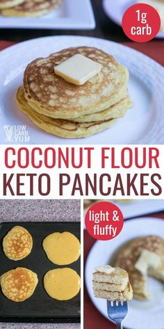Keto pancakes are perfect for a low carb breakfast. These fluffy coconut flour pancakes are easy to make and freeze well. Keto pancakes are perfect for a low carb breakfast. These fluffy coconut flour pancakes are easy to make and freeze well. Coconut Flour Pancakes, Coconut Flour Recipes, Low Carb Pancakes, Almond Flour, Best Keto Pancakes, Coconut Flour Tortillas, Almond Bread, Healthy Low Carb Recipes, Low Carb Desserts