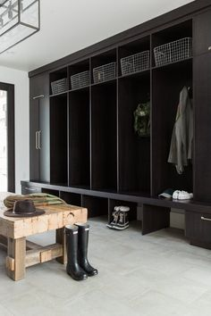 Mountain Home Mudroom || Studio McGee Love that they tiles made to look like concrete, mod