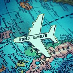World Traveler Plane Enamel Pin - White Gold Edition