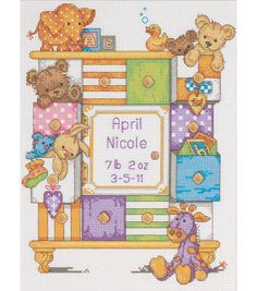 Baby Hugs Birth Record Counted Cross Stitch Kit