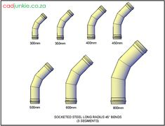 Bends: Socketed Steel Long Radius Bends – 3 Segments to ø) Autocad, Cad Blocks, 3d, Steel, Steel Grades, Iron
