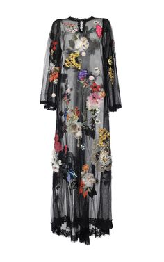 Flower Embellished Net Caftan by DOLCE & GABBANA for Preorder on Moda Operandi