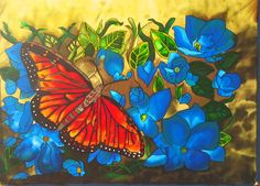 "Orange Butterfly, Original Silk Painting, 36"" X 48"", Tracy Harris"