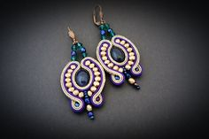 Soutache earrings with night of Cairo