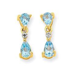14k & Rhodium Double Pear Blue Topaz & Diamond Dangle Earrings